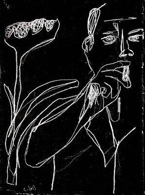 Digital Art - Smoker And Sunflower White On Black 2 by Artist Dot