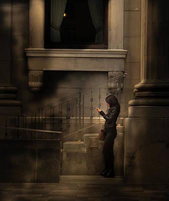 Photograph - Smoker Bihind The Column by Juan Contreras
