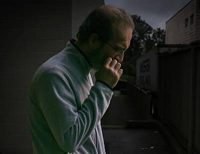 Photograph - Smoker In An Alley by Juan Contreras