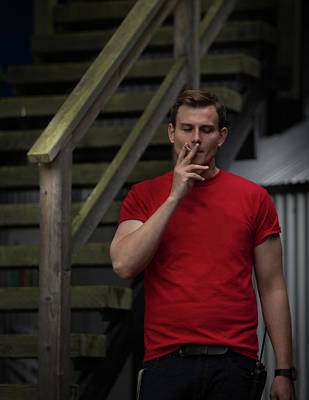 Photograph - Smoker In Red Tshirt by Juan Contreras