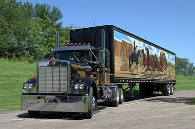 Photograph - Smokey And The Bandit Tribute Kenworth W900 Black And Gold Semi Truck by TeeMack