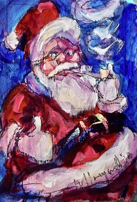 Painting - Smokin' Santa by Les Leffingwell