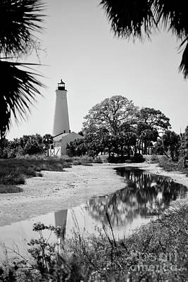 Photograph - Smooth St Marks Lighthouse Black And White by Carol Groenen