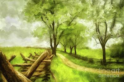 Digital Art - Snake Rail Fences At Antietam by Lois Bryan