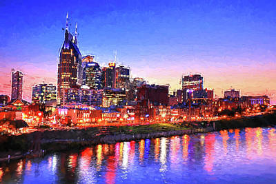 Photograph - Nashville Southern Lights Painting by Carol Montoya