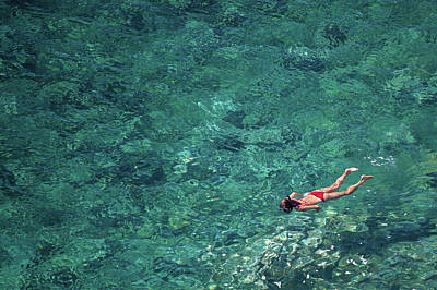 Freedom Photograph - Snorkeling In The Mediterranean Sea by Photovideostock