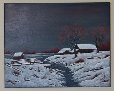 Painting - Snow Cabin by Gloria Johnson