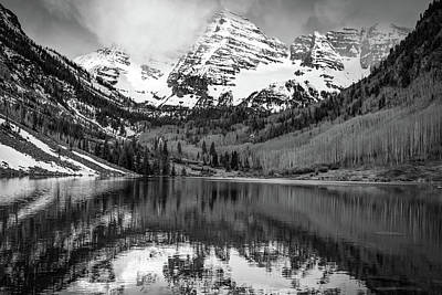 Photograph - Snow Capped Mountain Peaks - Maroon Bells In Monochrome by Gregory Ballos