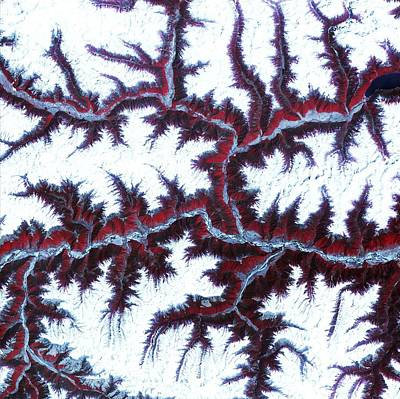 Painting - Snow-capped Peaks And Ridges Of The Eastern Himalaya Mountains. Original From Nasa by Celestial Images
