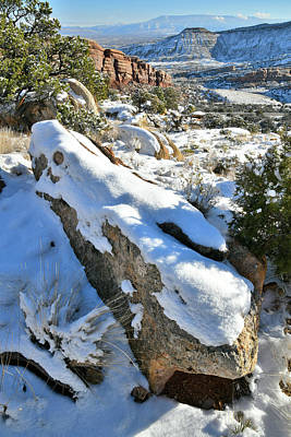 Outerspace Patenets Rights Managed Images - Snow Covered Boulders along Rim Rock Drive Royalty-Free Image by Ray Mathis