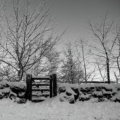 Photograph - Snow Covered Gate And Wall by Helen Northcott