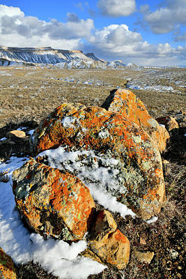 Photograph - Snow Covered Lichen Covered Boulders At Book Cliffs by Ray Mathis