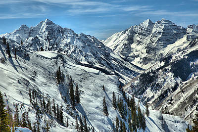 Photograph - Snow Covered Maroon Bells Peaks by Adam Jewell