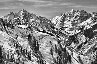 Photograph - Snow Covered Maroon Bells Peaks Black And White by Adam Jewell