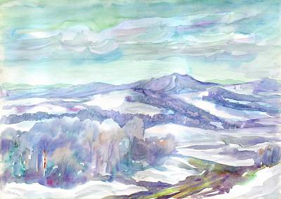 Painting - Snow-covered Mountain Landscape In Clear Frosty Weather by Dobrotsvet Art