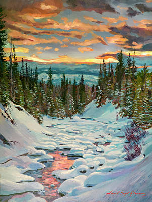 Painting - Snow Creek Sunrise  by David Lloyd Glover