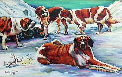 Painting - Snow Dogs by Carlis Lowe