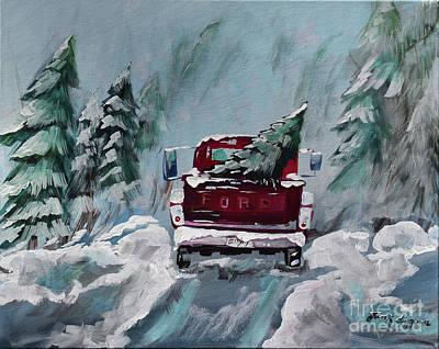 Painting - Dashing Thru The Snow - Ford Truck by Jan Dappen