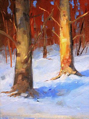 Painting - Snow Forest Landscape by Nancy Merkle