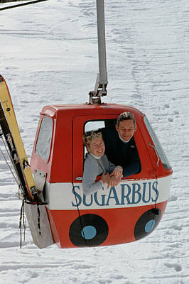 Couple Photograph - Snow Lift by Slim Aarons