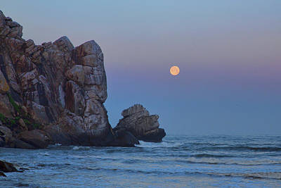 Photograph - Snow Moon And Morro Rock by Cheryl Strahl