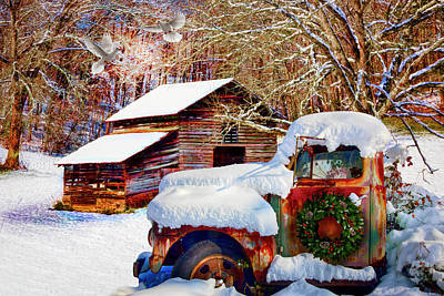Photograph - Snow On The Country Farm In Hdr Detail by Debra and Dave Vanderlaan