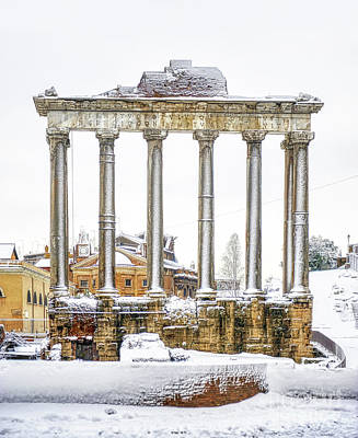 Winter Animals Rights Managed Images - Snow over Roman Forum and Palatine Hill Royalty-Free Image by Stefano Senise