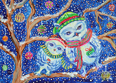 Painting - Snow Owl Carolers by Li Newton