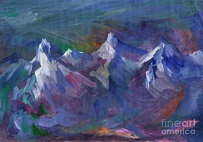 Painting - Snow Peaks Of The Mountains by Dobrotsvet Art