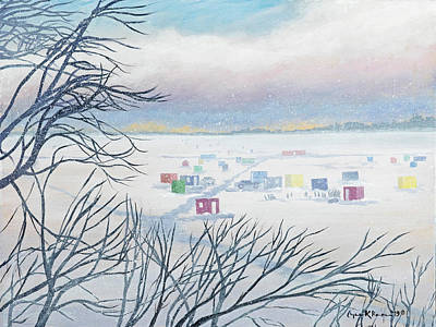 Painting - Snow Shower On The Winter Lake by Lynn Hansen