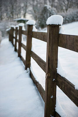 Photograph - Snow Topped Fence  by Helen Northcott