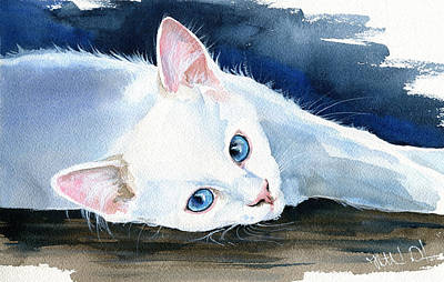 Painting - Snow White - Cat Painting by Dora Hathazi Mendes