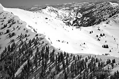 Photograph - Snowbird Baldy Ridgeline Black And White by Adam Jewell