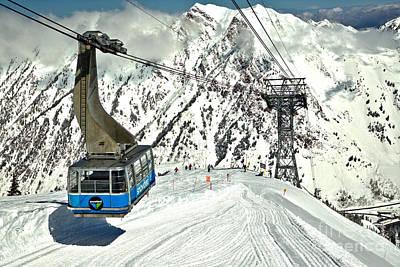 Photograph - Snowbird Blue Tram Car At Hidden Peak by Adam Jewell
