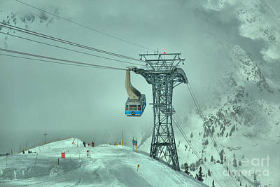 Photograph - Snowbird Blue Tram Car In The Clouds by Adam Jewell
