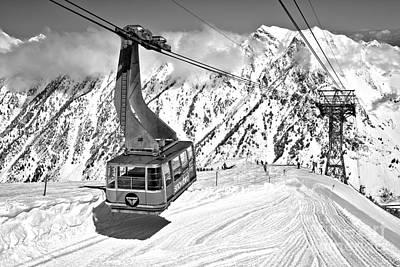 Photograph - Snowbird Blue Tram Shadow Black And White by Adam Jewell