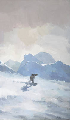 Painting - Snowboarding At Les Arcs by Steve Mitchell