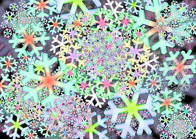 Digital Art - Snowflake One Remix One by Vitaly Mishurovsky