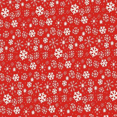 Digital Art - Snowflake Snowstorm With Poppy Red Background by Taiche Acrylic Art
