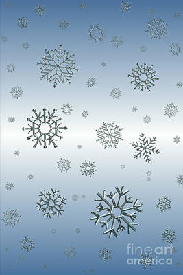 Digital Art - Snowflakes On Blue by Rachel Hannah
