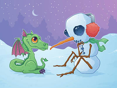 Royalty-Free and Rights-Managed Images - Snowman and Dragon by John Schwegel