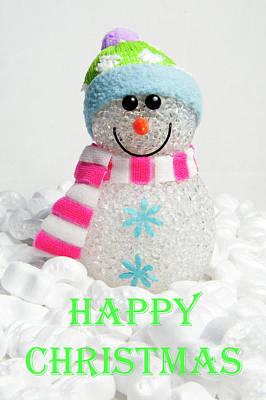 Photograph - Snowman - Happy Christmas by Helen Northcott