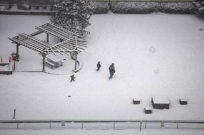 Photograph - Snowman In Progress by Juan Contreras