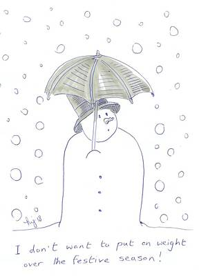 Drawing - Snowman Umbrella Cartoon Gaining Weight At Christmas by Mike Jory