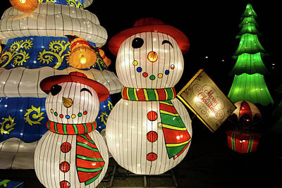 Photograph - Snowmen Lanterns by Perggals - Stacey Turner