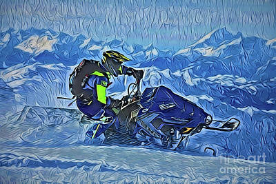 Painting - Snowmobile A18-13 by Ray Shrewsberry