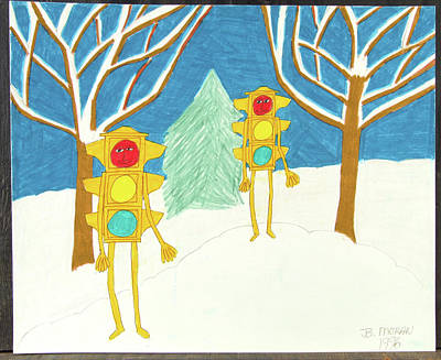Drawing - Snowscape by Barb Moran