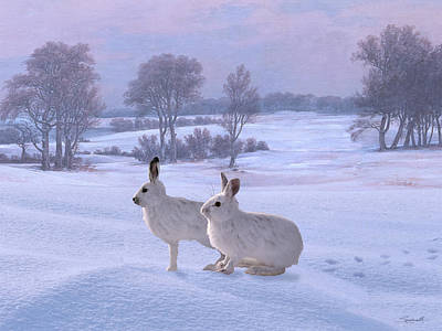 Digital Art - Snowshoe Hares by M Spadecaller