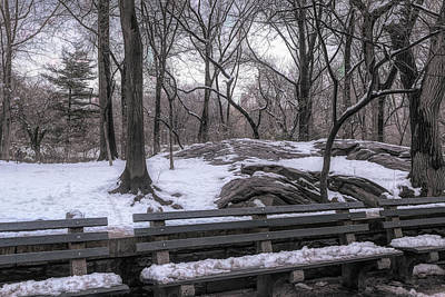 Photograph - Snowy Benches by Alison Frank