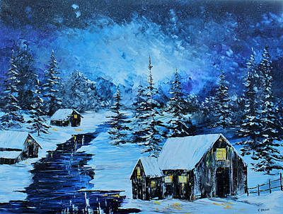 Painting - Snowy Cabin by Kevin Brown